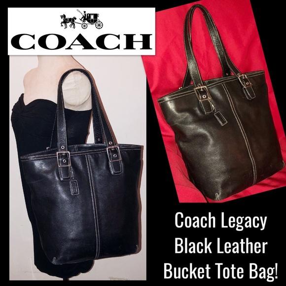 ... spain coach legacy large black leather bucket tote bag c2bb9 5b91a d05de39841ed2